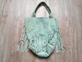 Made in Italy Fringed Bag sage green-mint