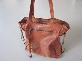 Leder-Tasche STEFFEN SCHRAUT Used Look, weiches Leder, Leoprint-Futter, neuwertig