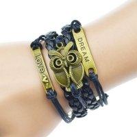Bracelet en cuir noir-bronze