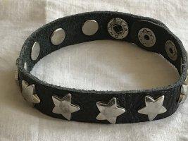 Skórzane ozdoby na ręce  czarny-srebrny