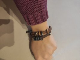 Leather Bracelet silver-colored-brown