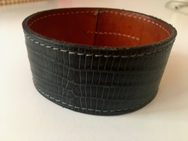 Bracelet en cuir bleu foncé-brun cuir