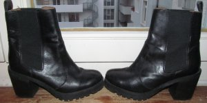 H&M Botas de tobillo negro Cuero