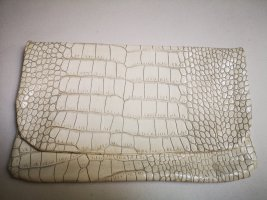 Lederclutch - Croco Muster, Weiss