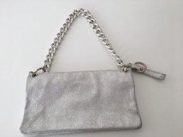 Lederclutch in Silber von Gianni Chiarini