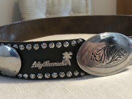 Lily Farouche Waist Belt dark grey-silver-colored leather