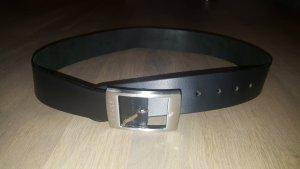 Esprit Cinturón de cuero negro-color plata
