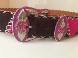 Cinturón de cuero marrón-negro-rojo frambuesa Cuero