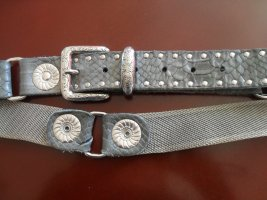Leather Belt grey-silver-colored leather
