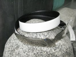 Leather Belt natural white leather