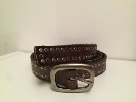 Cowboysbelt Studded Belt dark brown-silver-colored