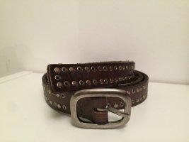 Cowboysbelt Pasek z ćwiekami ciemnobrązowy-srebrny