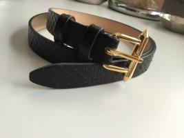 Barbara Bui Leather Belt black-sand brown leather