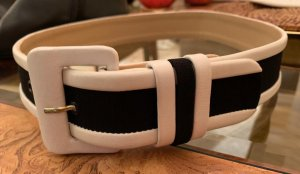 Made in Italy Leather Belt white-black