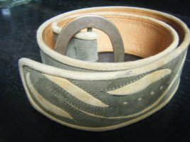Leather Belt green grey-pale yellow leather