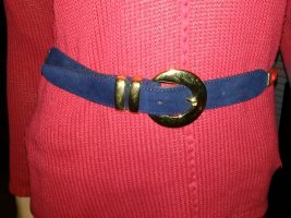 Ledergürtel Veloursleder dunkelblau- 80 cm 3 cm breit -goldene Metallschliesse neu