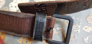 Diesel Cintura di pelle marrone