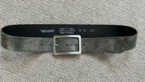 Vanzetti Cinturón de cuero gris claro-color plata Cuero