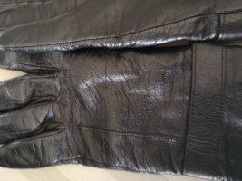 Rękawiczki skórzane ciemnobrązowy Skóra