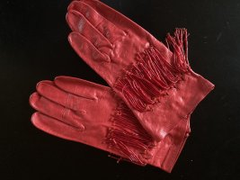 Gloves red leather