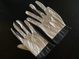 Gloves black-gold-colored leather