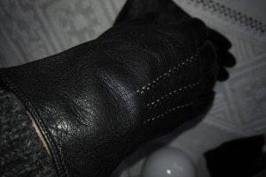 Unbekannte Marke Guantes de cuero negro