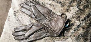 Leren handschoenen grijs-donkergrijs
