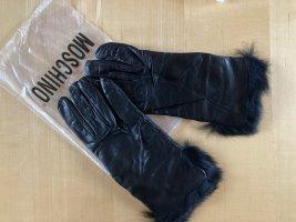 Moschino Gants en fourrure noir cuir