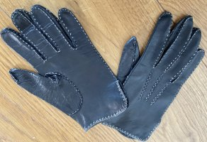 Leather Gloves black-natural white leather