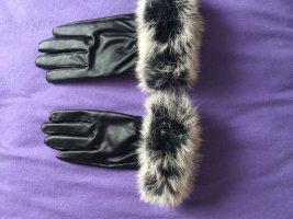 Guanto di pelliccia nero-bianco Pelle