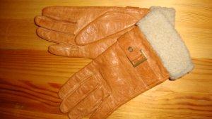 Leren handschoenen donker oranje-cognac Leer