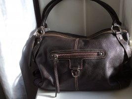 Lederhandtasche dunkelbraun mit vielen Taschen