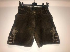 Almsach Pantalón de cuero tradicional marrón-negro