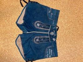 / Pantalon traditionnel en cuir bleu-bleu foncé