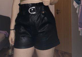 Amisu Skórzane spodnie czarny