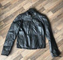 AJC Skórzana kurtka czarny Skóra