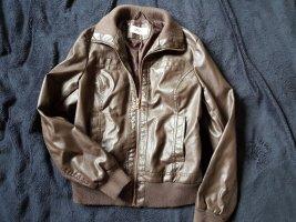 Veste en cuir synthétique brun foncé