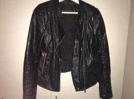 Amisu Leather Jacket black-silver-colored