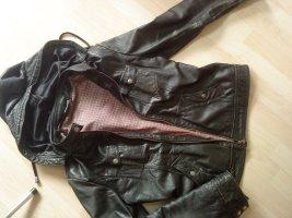 Lederjacke mit Kapuze schwarz Street One Größe 40