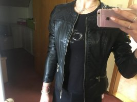 Pimkie Faux Leather Jacket black-gold-colored
