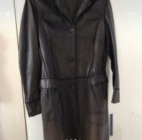 Lady Vintage Manteau en cuir brun foncé