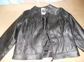 Colosseum Faux Leather Jacket black polyamide