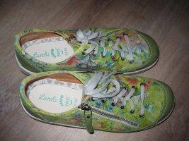 Ledersneaker grün-bunt