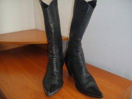 0039 Italy Western Laarzen zwart Leer