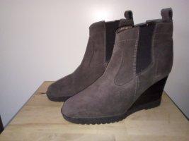 Lederstiefel Stiefeletten Boots Keilboots Leder Grau Anthrazit Promod 39 Stiefeletten Herbst Autumn