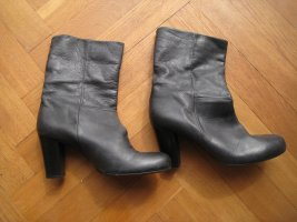 Slouch Booties black brown leather