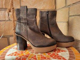 Manas Bottines à plateforme marron clair-bronze cuir
