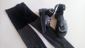 Leggins Leggings schwarz silber Disco Metallic Strumpfhose Glamour Retro