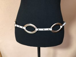 0039 Italy Leather Belt white-silver-colored