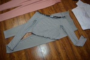 H&M Divided Camisa tipo Carmen negro-blanco